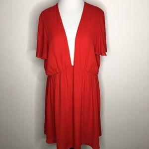 Show Me Your MuMu Red V Neck Mini Dress X Large